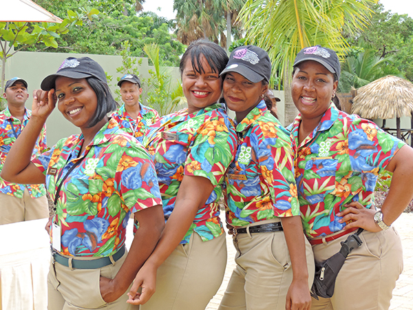 Foto Friday - four women in bright shirts lining up for the camera