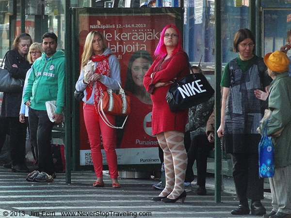 Foto Friday - people at a tram stop, Helsinki, Finland