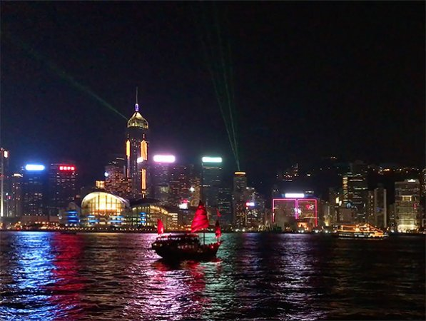 Hong Kong Harbor at night - 600