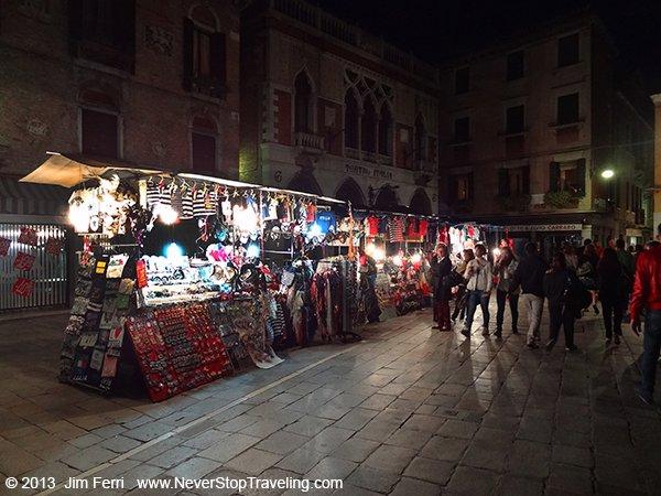 Night market, Rio Terrà Naddalena, Cannaregio, Venice, Italy