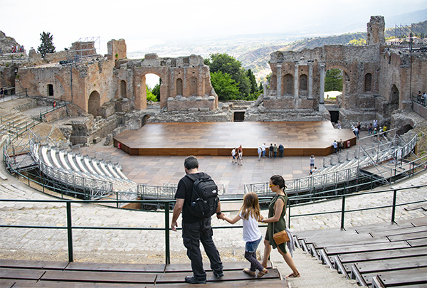 Foto Friday - people walking through an ancient Greek Theater