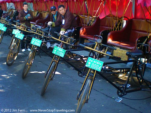 Hutong pedicab drivers, Beijing, China