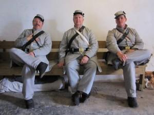 3 Confederate soldiers at Civil War Reenactments