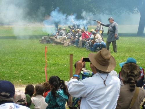 a battle at a Civil War Reenactments