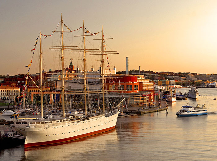 old sailing ship in a harbor at dusk top 10 sweden