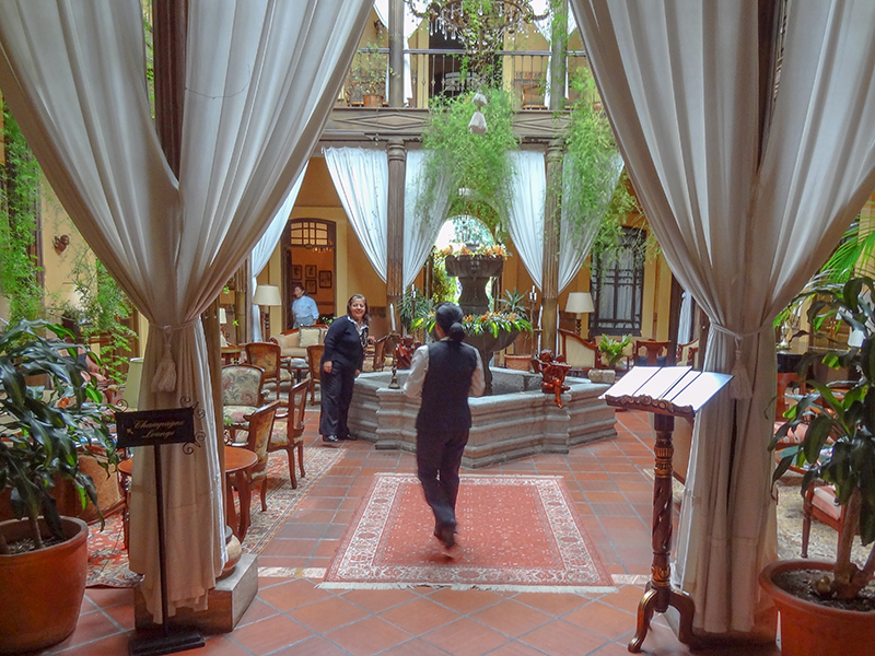 the lobby of a hotel in Cuenca Ecuador