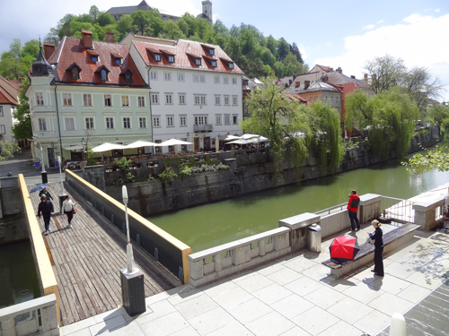 The right bank below Ljubljana Castle