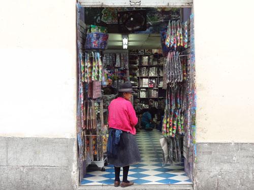 Indian woman shopkeeper, Quito, Ecuador