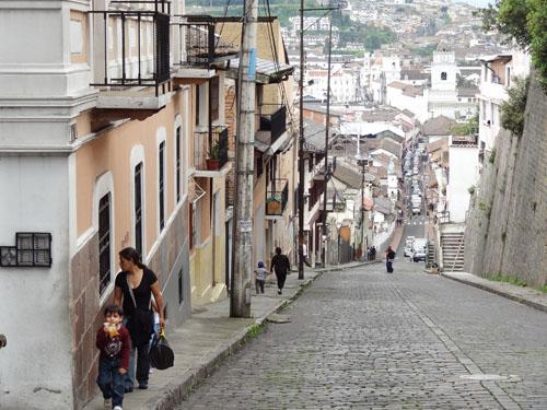 Streets and hills of Quito, Ecuador