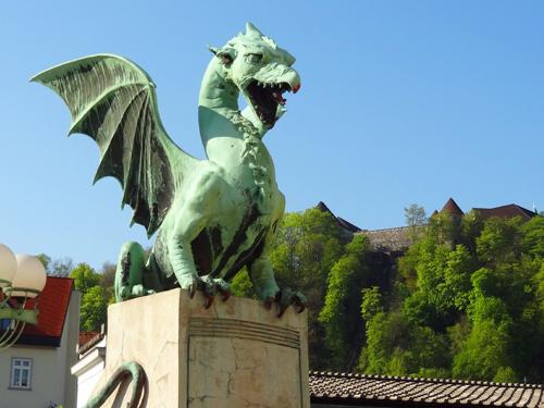Dragon Bridge and Ljubljana Castle