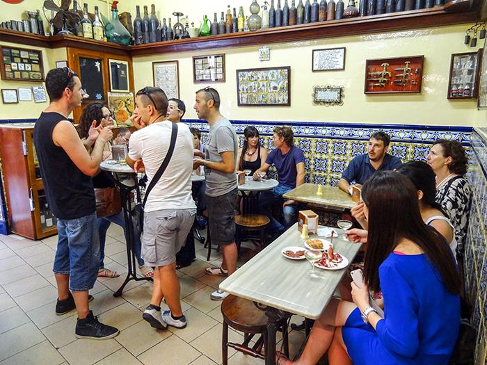 people in a tapas bar in Bracelona