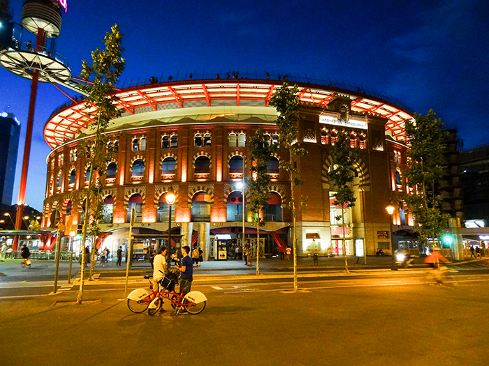 a bullring at night in Bracelona