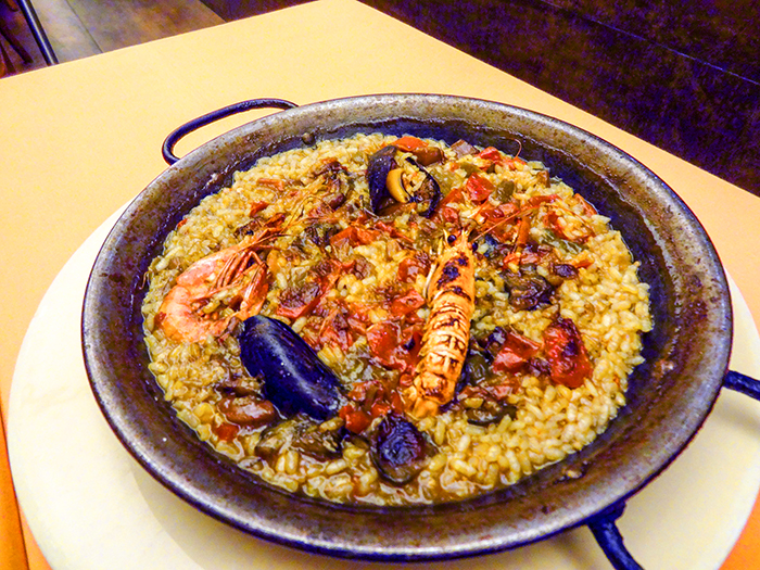 Seafood paella at a restaurant in Barcelona