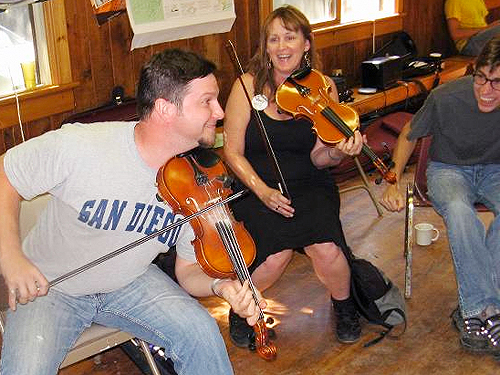Fiddling and Dancing at Adult Camp