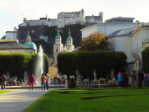 A view of Salzburg from Mirabell Gardens