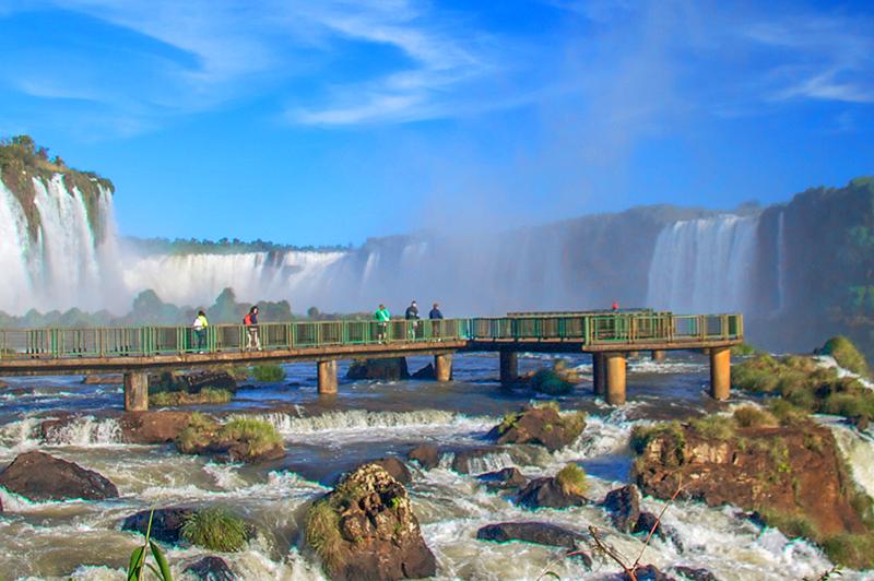 people looking at Iguassu Falls, Brazil