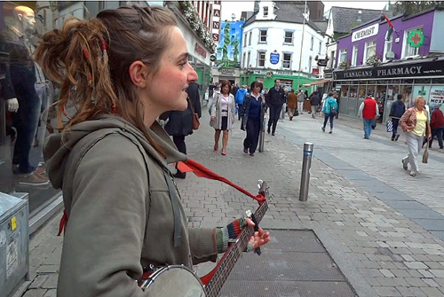 A musician on Shop Street in Galway