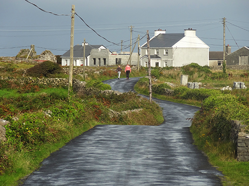 Road in Oatquarter following an afternoon shower Aran Islands