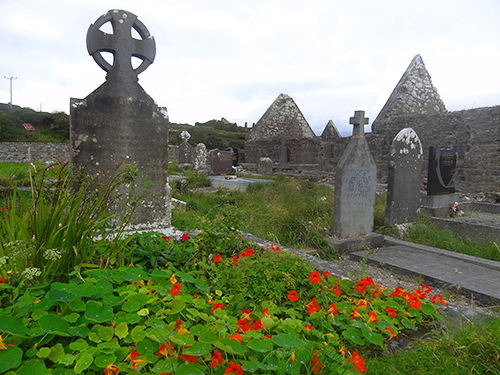 A grave at one of the seven famous churches Aran Islands