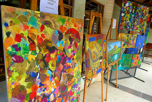 an outdoor art gallery - la fortuna costa rica and arenal volcano