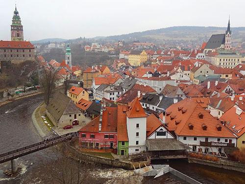 Cesky Krumlov as viewed from the upper castle