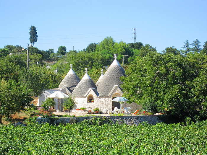 buildings with conical roofs in Puglia, Italy