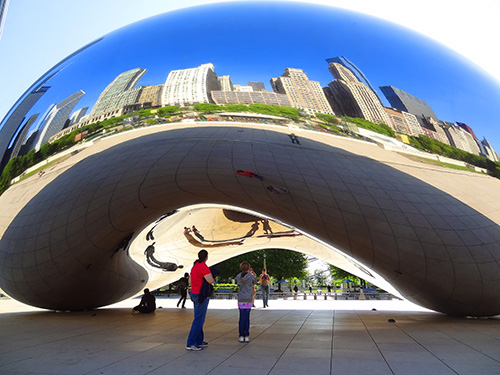 "Cloud Gate, aka ""The Bean,"" in Millennium Park in Chicago"