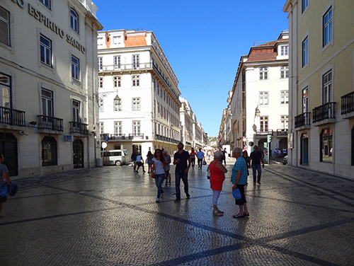 Rua Augusta in the Baixa area in Lisbon