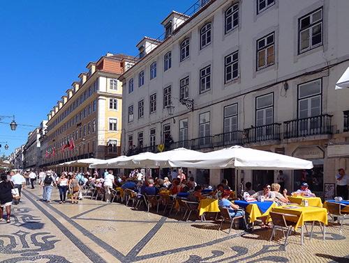 Cafés along Rua Augusta  in Lisbon