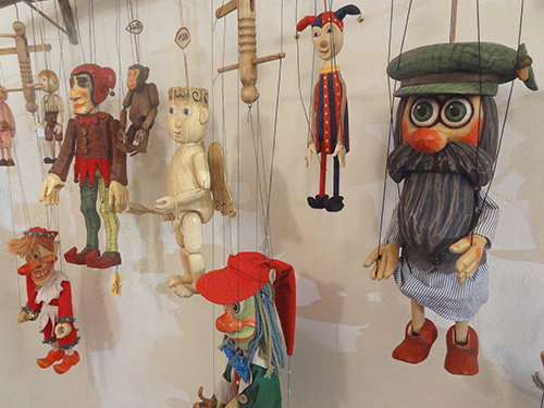 Marionettes in the Marionety Truhlář shop in Prague
