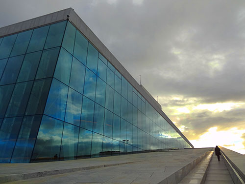 Walking up the roof of the Oslo Opera House