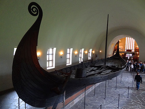 A longboat in the Viking Ship Museum in Oslo