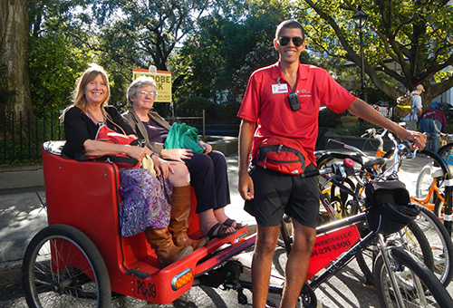 In the pedicab off to Jackson Square in New Orleans / photo: Carla Marie Rupp