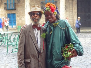 Posing for photos in Old Havana in Cuba
