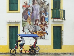 A pedicab on a treet in Old Havana in Cuba