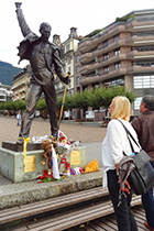Statue of Freddie Mercury on the quay in Montreux