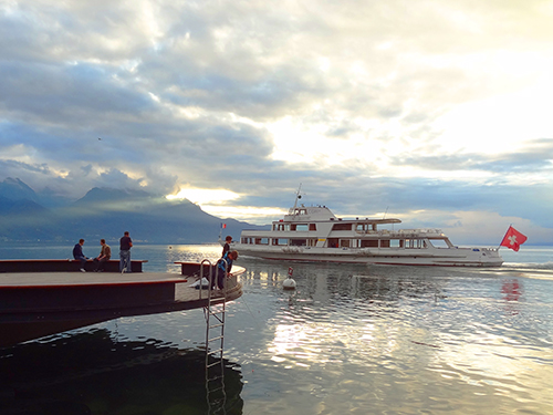 Fishermen on the quay of Montreux