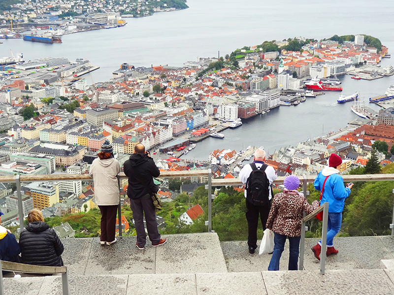 people looking down on Bergen, Norway