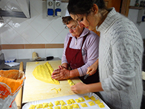 Gianna and Francesca making ravioli in Italy - Truffle Hunting in Italy