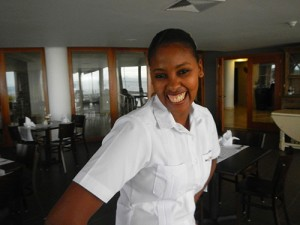 Bannister Hotel waitress in Samana Dominican Republic