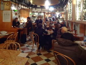 The restaurant in Tamburini in Bologna