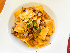 a plate of ravioli in the Lavaux in Switzerland