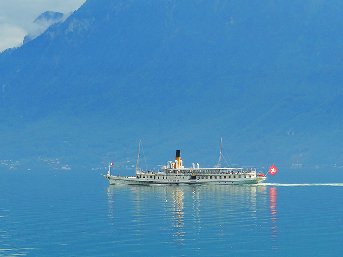 an old lake steamer in the Lavaux in Switzerland