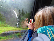 Aboard the bus from Voss on a Norway in a Nutshell tour