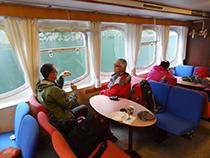 The ferry sailing up the Naeroyfjord to Fläm