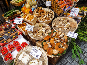 baskets of produce in a market