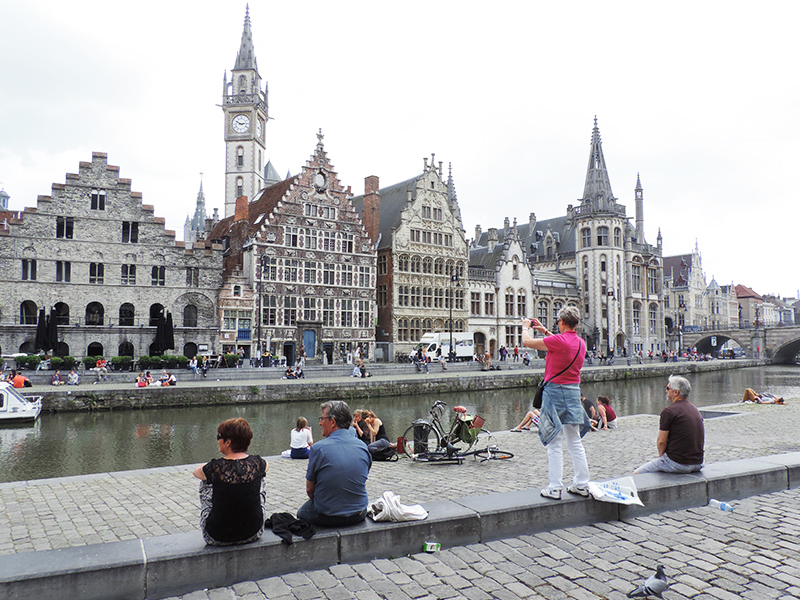 Sitting along the Leie River in Ghent