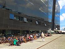 Sunning at the Black Diamond in Copenhagen