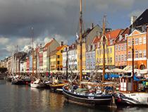 Ships in Nyhavn in Copenhagen