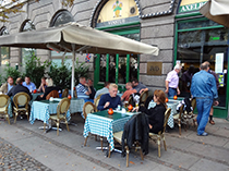 One of the city's many sidewalk cafés in Copenhagen